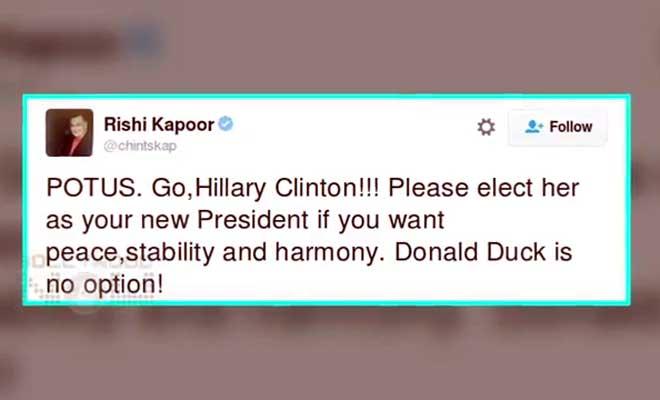 us elections पर बॉलीवुड सितारों के बोल- हिलेरी की वकालत से लेकर डोनाल्ड डक की धुलाई तक सब कुछ