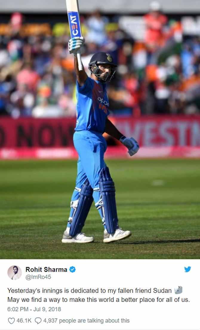 रोहित शर्मा ने यूं जीता सबका दिल,t20 का तीसरा शतक समर्पित कर दिया सूडान को!