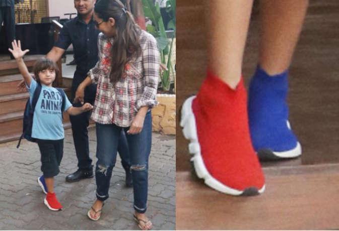 तस्वीरें: क्या शाहरुख की बीवी गौरी ने बेटे अबराम को गलती से पहना दिए गलत शूज, लोग कह रहे ये बातें