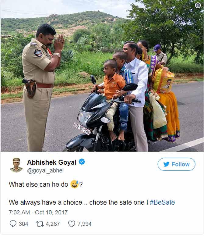 बिना हेलमेट बाइक पर पांच सवारी देख पुलिस अधिकारी ने किया प्रणाम,अब इंडिया कर रहा इनका गुणगान
