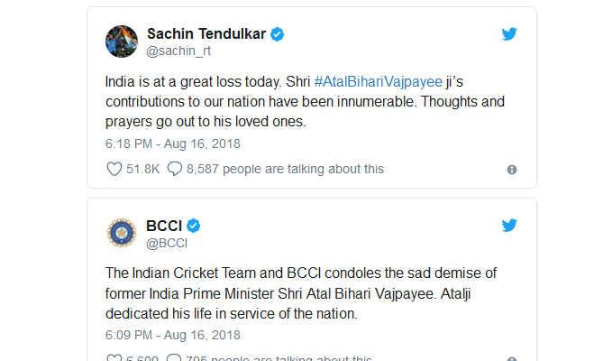 सचिन-कोहली सहित भारतीय क्रिकेटरों ने अटल बिहारी वाजपेयी को ऐसे दी श्रद्धांजलि