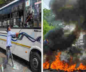भारत बंद : कहीं आगजनी तो कहीं तोड़फोड़, इन तस्वीरों में देखें कैसे बिगड़े हालात