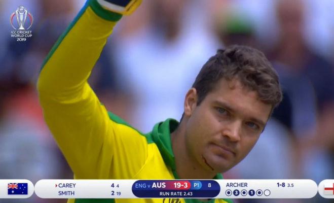 aus vs eng सेमीफाइनल मैच में टला हादसा,बाउंसर लगने से कंगारु बल्लेबाज के निकलने लगा खून