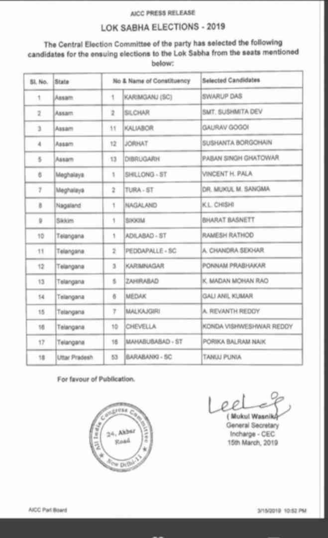 बाराबंकी से तनुज पुनिया लड़ेंगे चुनाव,कांग्रेस ने जारी की 18 उम्मीदवारों की तीसरी लिस्ट