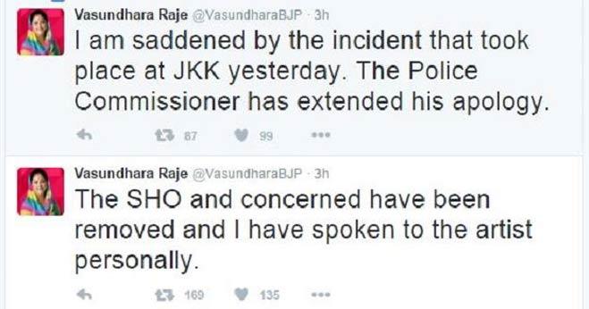जयपुर: राजे ने खेद जताया,एसएचओ हटाए गए