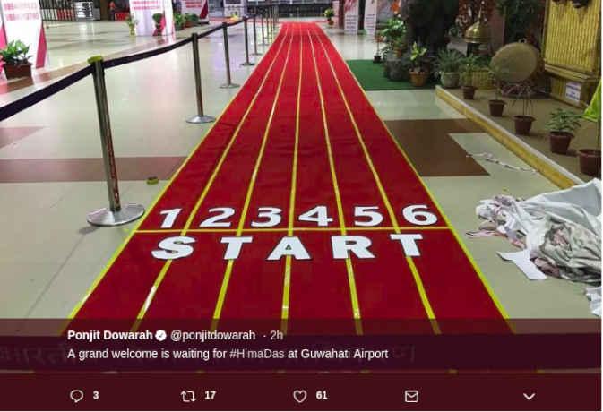 हिमा दास के स्वागत में एयरपोर्ट पर रेड ट्रैक कार्पेट बिछा, सीएम खुद आएंगे रिसीव करने