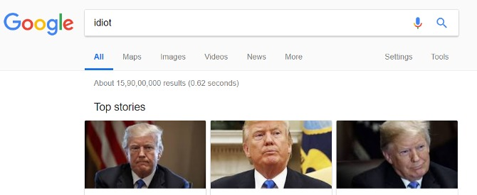 गूगल पर idiot सर्च करो तो दिखते हैं डोनाल्ड ट्रंप,फेंकू के बाद एक बार फिर गूगल सर्च से मचा बवाल