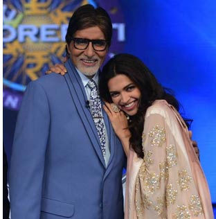 Big B Arjun and Deepika at KBC 8