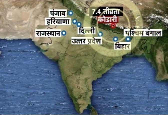 भूकंप से फिर हिली नेपाल व भारत की धरती