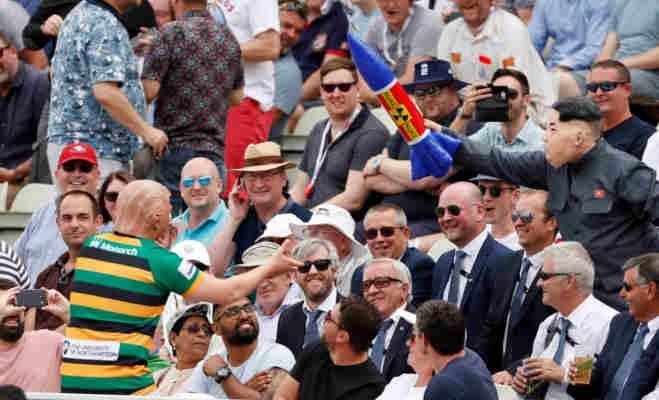 विराट कोहली का मैच देखने स्टेडियम पहुंचे किम-जोंग उन और डोनाल्ड ट्रंप,बैठे दिखे साथ-साथ
