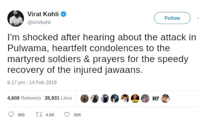 पुलवामा आतंकी हमले से दुखी विराट कोहली ने लिया ये बड़ा फैसला
