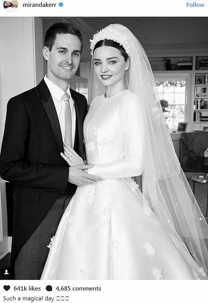 भारत को गरीब देश कहने वाले स्नैपचैट ceo और सुपर मॉडल मिरांडा केर की wedding pics हुईं वायरल