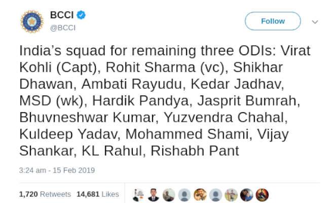 ind vs aus : वर्ल्ड कप से पहले आखिरी सीरीज के लिए टीम इंडिया में इन 15 खिलाड़ियों का हुअा चयन