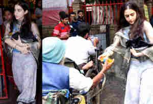 तस्वीरें : मंदिर के बाहर सारा अली खान दान देते हुईं स्पॉट, क्या डेब्यू फिल्म 'सिंबा' के लिए कर रहीं ये पुण्य का काम