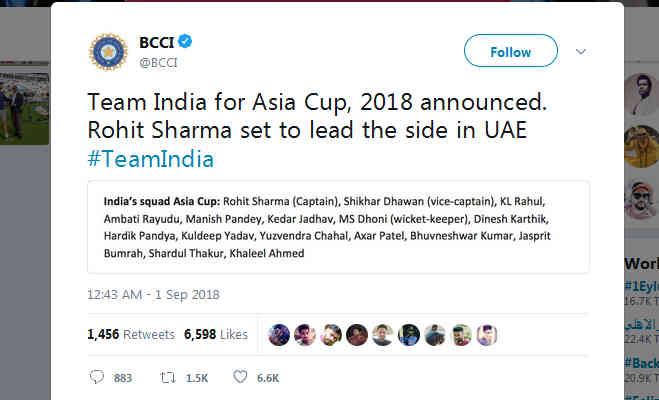एशिया कप : साल में दूसरी बार टीम में नहीं कोहली,रोहित शर्मा बने कप्तान