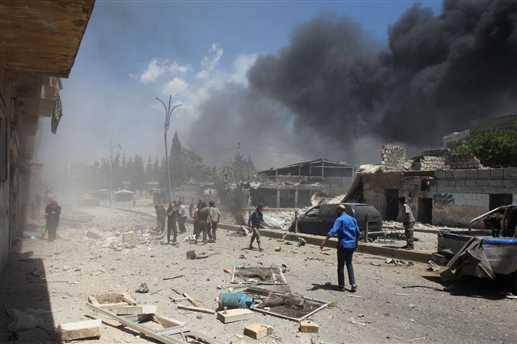 syria air strikes atleast 44
